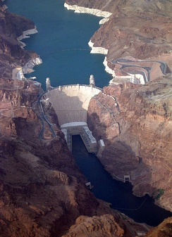 The Hoover Dam in the United States is a large conventional dammed-hydro facility, with an installed capacity of 2,080 MW.