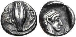 Coin of Themistocles as Governor of Magnesia. Obv: Barley grain. ΘE to left. Rev: Possible portrait of Themistocles. Circa 465–459 BC.[93]