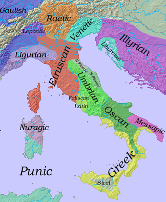 Linguistic map of Italy in the sixth century BC. Gallic tribes (in dark blue) had already colonised the region of Piedmont. By 400 BC, they had overrun much of the rest of the Po plain in the North, and Gaulish dialects had displaced Lepontic, Raetic, Etruscan and N. Picene in that region. Raetic survived in the Alps. Note the tiny area occupied by the original Latins