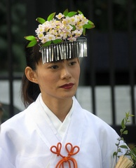 A Japanese-Brazilian Miko during a festival in Curitiba
