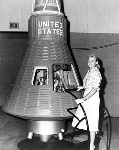 Jerrie Cobb with a Mercury capsule