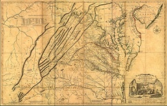 1755 Fry-Jefferson map showing earlier established colonial borders before the French and Indian War