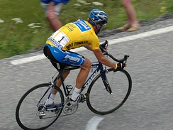 Armstrong wearing the yellow jersey at the 2005 Tour de France