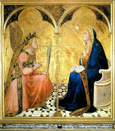 The floor tiles in Lorenzetti's Annunciation (1344) strongly anticipate modern perspective.