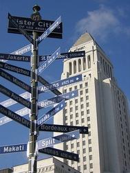 Указатель направлений на города-побратимы Лос-Анджелеса, с расстояниями до них в милях