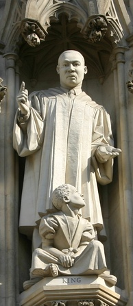 Martin Luther King Jr. statue over the west entrance of Westminster Abbey, installed in 1998.