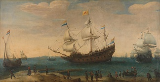 Dutch galleon, off Mauritius, showing both a forecastle (left) and quarterdeck (right).