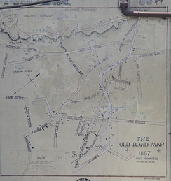 A mural of the road map of Montclair from 1857, when it was known as West Bloomfield