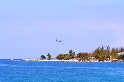 A US Airways aircraft landing at Montego Bay (2013)