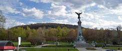 View of Mont-Royal's eastern slope from the George-Étienne Cartier monument. The park is one of Montreal's largest open space reserves.