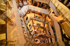 The atrium of Melbourne's flagship Myer department store, which generates yearly revenue of almost AU$300 million.[159]