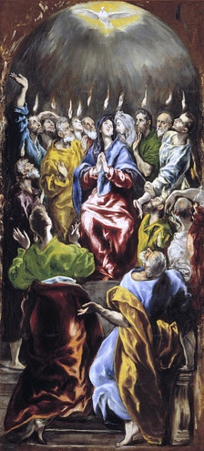 El Greco's depiction of Pentecost, with tongues of fire and a dove representing the Holy Spirit's descent (c. 1600)