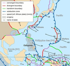 Taiwan lies on the western edge of the Philippine Plate.