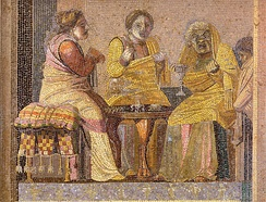 "Mosaic depicting masked actors in a play: two women consult a ""witch"""