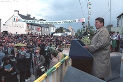 President Ronald Reagan speaking to a large crowd in his ancestral home in Ballyporeen, Ireland, in 1984.