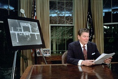 President Reagan delivering the March 23, 1983 speech initiating the Strategic Defense Initiative.