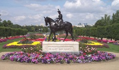 Statue of Elizabeth II and Burmese, a horse gifted to the Queen by the RCMP. Located in Regina, the statue was unveiled by the Queen during her Golden Jubilee in 2002.