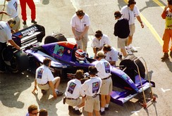 Roland Ratzenberger's Simtek at the 1994 San Marino Grand Prix, prior to his fatal accident.