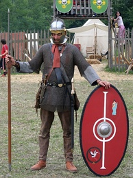 Re-enactor outfitted as a Late Roman legionary carrying a pilum