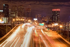 Eastbound Schuylkill Expressway approaching Center City Philadelphia