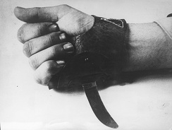 "An agricultural knife nicknamed ""Srbosjek"" or ""Serbcutter"", strapped to the hand. It was used by the Ustaše militia for the speedy killing of inmates at Jasenovac"
