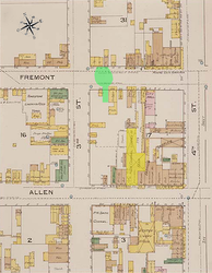 Annotated 1886 fire map of Tombstone indicating the actual shootout location (in green) and the O.K. Corral (in yellow) on the other side of the block