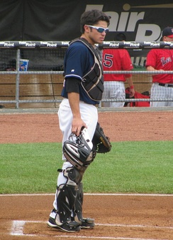 D'Arnaud playing for the New Hampshire Fisher Cats in 2011