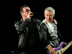 Bono and Adam Clayton during a concert in Charlottesville, Virginia.