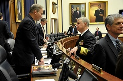 Rep. Forbes speaks with Chief of Naval Operations Adm. Gary Roughead before testifying in 2011