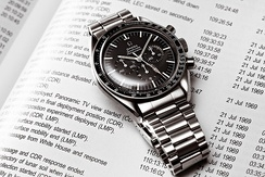 The Omega Speedmaster worn on the moon during the Apollo missions. In terms of value, Switzerland is responsible for half of the world production of watches.[52][95]