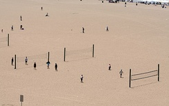 Public beach volleyball courts in Santa Monica, where the modern two-man version originated.