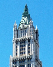 The neo-Gothic crown of the Woolworth Building by Cass Gilbert (1912)