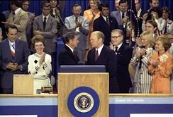 Primary foes Ronald Reagan (left) and Gerald Ford (right) shake hands during the 1976 Republican National Convention, the last major party convention whose outcome was in doubt.