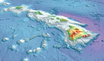 3-D perspective view of the southeastern Hawaiian Islands, with the white summits of Mauna Loa (4,170 m or 13,680 ft high) and Mauna Kea (4,206 m or 13,799 ft high). The islands are the tops of massive volcanoes, the bulk of which lie below the sea surface. Ocean depths are colored from violet (5,750 m or 18,860 ft deep northeast of Maui) and indigo to light gray (shallowest). Historical lava flows are shown in red, erupting from the summits and rift zones of Mauna Loa, Kilauea, and Hualalai volcanoes on Hawaiʻi.
