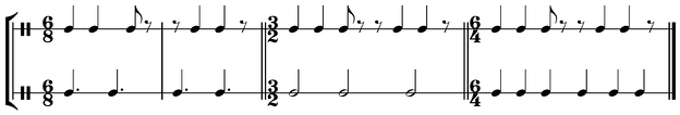Different ways to count the 68 clave, the first of which is correct Play (help·info).