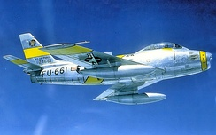 81st FBS North American F-86F Sabre – 52-4661 in flight on 10 August 1953, during Operation Fox Able 20, the movement of the 50th FBS from the United States to Hahn Air Base, West Germany