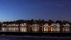 Historic Boathouse Row at night on the Schuylkill, a symbol of the city's rich rowing history