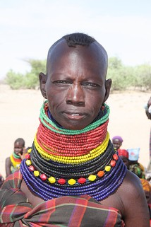 A Nilotic Turkana woman wearing traditional neck beads