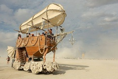 A steampunk airship art car built by the Airpusher Collective at Burning Man 2014