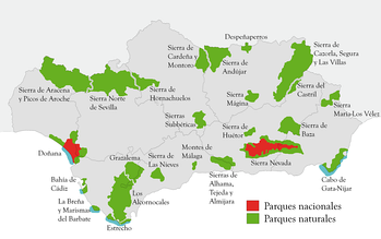 National parks and natural parks in Andalusia.