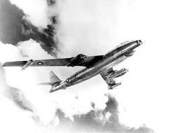 "B-47A Stratojet, described by the press as the ""fastest bomber in the world"" flies near the Boeing production plant in Wichita, Kansas, 11 August 1950"