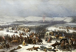 Napoleon's army at the retreat from Russia at the Berezina river