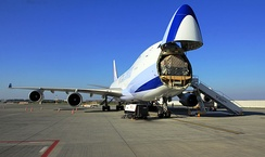 China Airlines Cargo 747-400F with the nose cargo door open