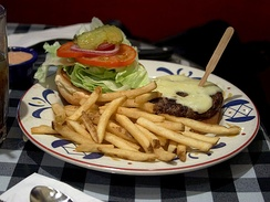 French fries served with a hamburger