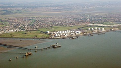 The petrochemical shipping and storage facilities at Hole Haven