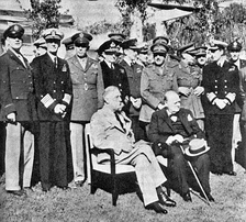 US President Franklin D. Roosevelt and British PM Winston Churchill seated at the Casablanca Conference, January 1943