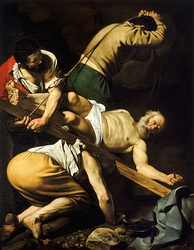 The Crucifixion of Saint Peter (1601) by Caravaggio
