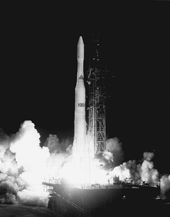 Launch of the first Skynet satellite, Skynet 1A, by Delta rocket in 1969 from Cape Canaveral