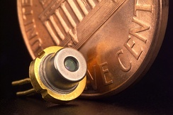 A 5.6 mm 'closed can' commercial laser diode, probably from a CD or DVD player