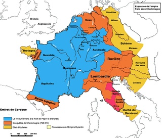 Expansion of the Frankish Empire:Blue = realm of Pippin III in 758,Orange = expansion under Charlemagne until 814Yellow = marches and dependenciesRed = Papal States